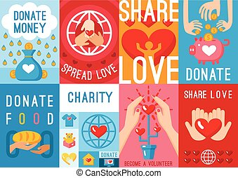 Charity Donation Posters Set - Set of eight charity donation...