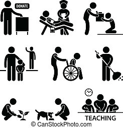 Charity Donation Volunteer Helping - A set of pictogram...