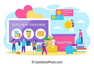 Charity donations vector illustration, cartoon tiny people donate box full of clothes or toys, coins in piggy bank isolated on white