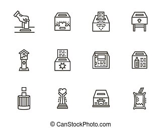 Charity elements black line vector icons set