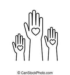 Charity event, hands raised, heart in the palm of your hand