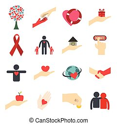 Charity flat icons