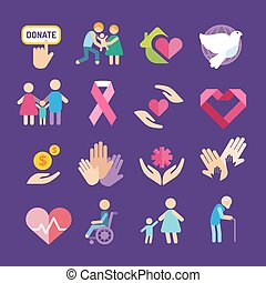 Charity flat icons set. Charity vector logo icons. Charity...