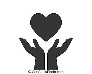 Charity, giving and donation icon with hands holding red heart