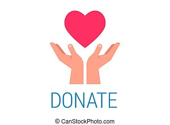 Charity, giving and donation poster with hands holding red heart