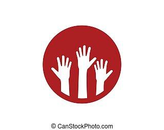 Charity, hand, volunteer icon. Vector illustration, flat design.
