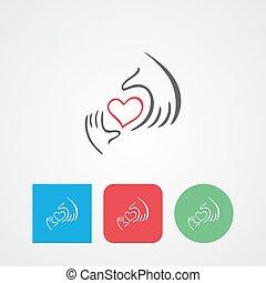 Charity, health, voluntary, caring hand logo. Heart in hand flat vector icon