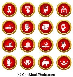 Charity icon red circle set