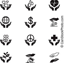 Charity Silhouette icons set