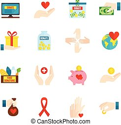 Charity Icons Flat Set - Charity and relief volunteer...