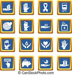 Charity icons set blue