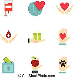 Charity icons set, flat style