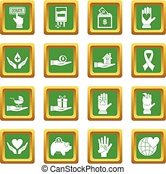 Charity icons set green