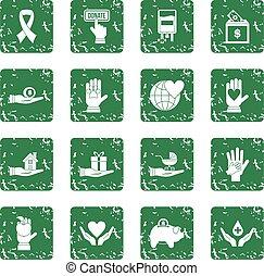 Charity icons set grunge
