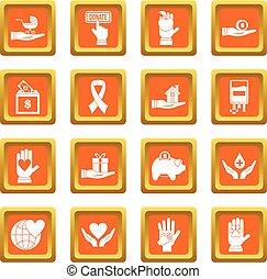 Charity icons set orange