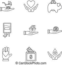 Charity icons set, outline style