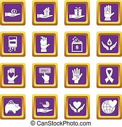 Charity icons set purple