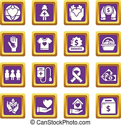 Charity icons set purple square vector
