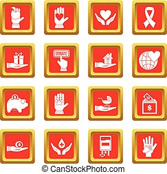 Charity icons set red