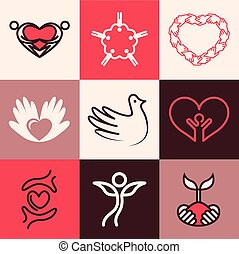 Charity icons vector set