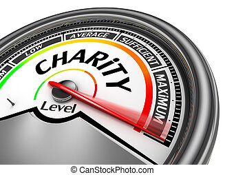 Charity level conceptual meter indicate maximum