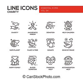 Charity - line design icons set