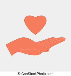 Charity love concept. Hand make the heart - vector