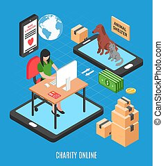 Charity Online Isometric Design Concept