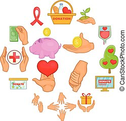 Charity organization icons set, cartoon style