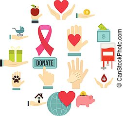 Charity set flat icons
