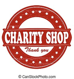 Charity shop - Stamp with text charity shop inside, vector...