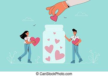 Charity, volunteer, donation concept