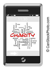 Charity Word Cloud Concept on a Touchscreen Phone
