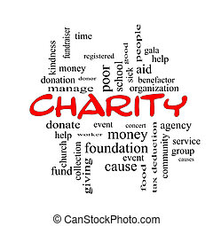 Charity Word Cloud Concept red caps with great terms such as...