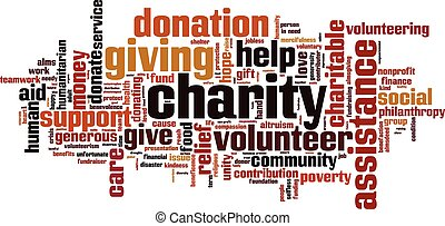 Charity word cloud concept. Vector illustration