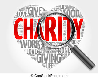 Charity word cloud with magnifying glass