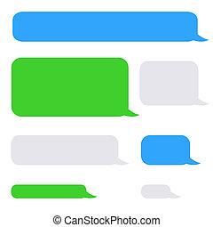 charla, burbujas, sms, plano de fondo, teléfono
