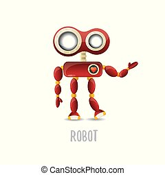 charla, fondo., vector, robot, divertido, carácter, aislado...