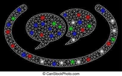 charla, llamarada, mensajes, marco, alambre, puntos, malla,...