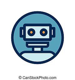 charla, robot, señal, icon., circle., bot, contorno, azul