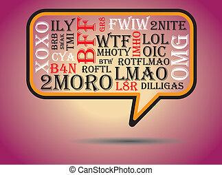 charla, tmi, btw, swak, bubble., comúnmente, wtf, utilizado...
