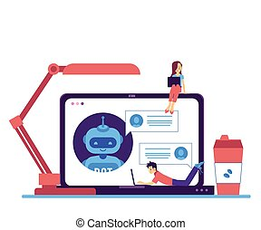 charla, vector, independiente, bot, computador portatil, ...