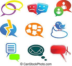 charla, y, comunicación, iconos