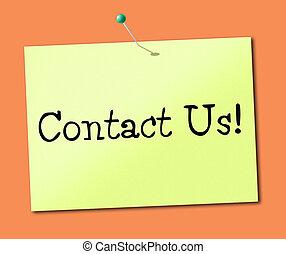 charlar, nosotros, indica, contacto, llamada, ahora