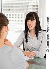 charlas, mujer sonriente, otro, empresa / negocio