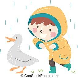 charlatan, garçon, aimer, printemps, illustration, canard, gosse