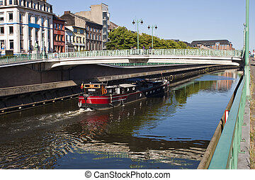 Charleroi-Brussels canal in Charleroi, Belgium
