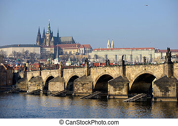 Charles Bridge and Prague Castle in winter
