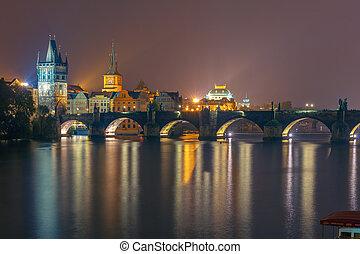 Charles Bridge at night in Prague, Czech Republic