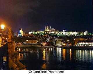 Charles Bridge at night in Prague